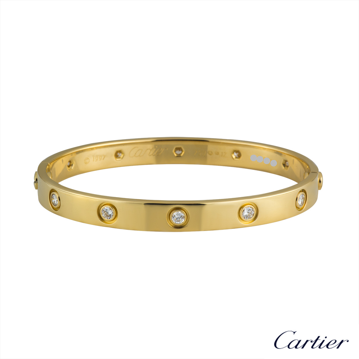 Cartier Yellow Gold Full Diamond Love Bracelet Size 19 B6040519